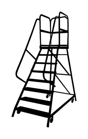 Industry ladder vector silhouette, iron scaffold with wheel in warehouse isolated on white background.Manual Picking and Packing. Shelves, with step stairs for manual picking. Part of Warehouse series