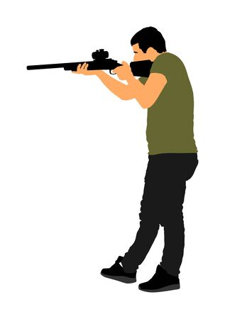 Man with sniper vector illustration. Soldier with rifle with optic. Paintball player. Recreation with adrenaline in urban environment. Hunter with rifle outdoor action. Military skill.