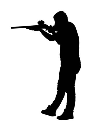 Man with sniper vector silhouette illustration. Soldier with rifle with optic. Paintball player. Recreation with adrenaline in urban environment. Hunter with rifle outdoor action. Military skill. Иллюстрация