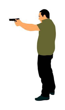 Man with gun shooting vector illustration. Hunter with pistol in shot.  Public crime scene, gunfight battle. Police man on duty with weapon. Secret agent against terrorist.
