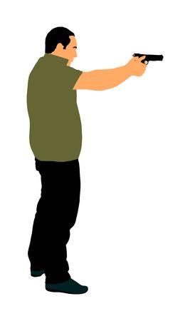 Man with gun shooting vector illustration. Hunter with pistol in shot.  Public crime scene, gunfight battle. Police man on duty with weapon. Secret agent against terrorist.