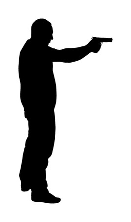 Man with gun vector silhouette illustration. Hunter with pistol shooting in shot.  Public crime scene, gunfight battle. Policeman practice with target. Bank robbery Illustration