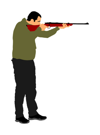 Aiming hunter with rifle vector illustration isolated on white background. Outdoor hobby hunting scene. Soldier with rifle on duty. Man shooter with shotgun defends property. Military skill