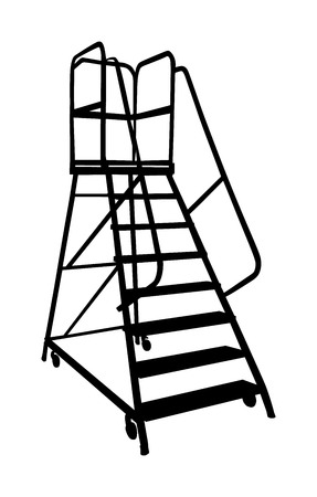 Industry ladder vector silhouette, iron scaffold with wheel in warehouse isolated on white background.