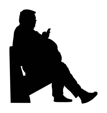 Fat man is worry about health vector silhouette. Overweight person trouble. Big boy think about food calorie. Fat boy sitting on bench in park and ordering fast food by mobile phone. Giant man.
