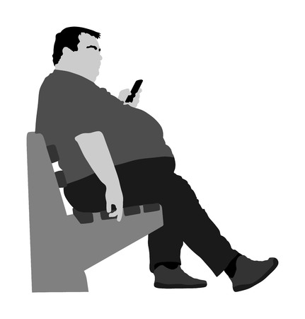 Fat man is worry about health vector isolated on white. Overweight person trouble. Big boy think about food calorie. Fat boy sitting on bench in park and ordering fast food by mobile phone. Giant man.