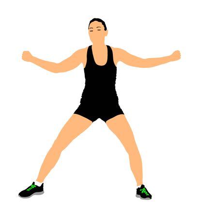 Fitness woman instructor exercise on training in gym vector isolated. Losing weight, bodybuilder. Personal trainer workout. Fit sport lady. Handsome girl stretching worming up. Female athlete skill.
