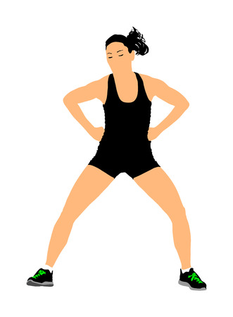 Fitness lady instructor vector illustration isolated on white background. Sport, training, gym and lifestyle concept. Young beautiful woman exercising in the gym. Athletic woman personal trainer.