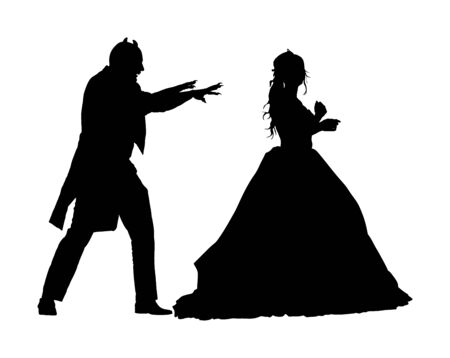 Vampire attack young lady vector silhouette illustration isolated on white. Innocent girl in danger. Dracula strike woman. Halloween scary scene. Evil devil behind princess prepare to neck bite.