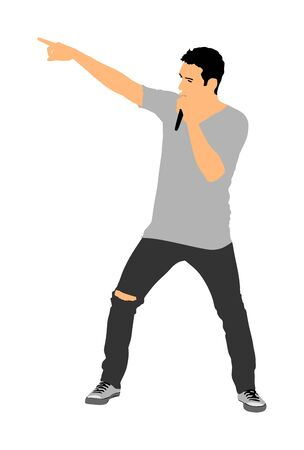 Popular singer with microphone in hand vector illustration isolated on white background. Music artist concert. Man on stage karaoke performer