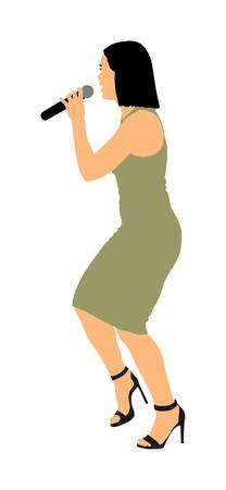 Illustration vectorielle de chanteur populaire super star isolée sur fond blanc. Artiste de musique attrayant sur scène. Femme chanteuse, artiste fille contre public en concert. Microphone en mains. Belle dame.