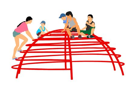 Children Playing at playground climber toy in entertainment park vector illustration. Outdoor activity, friends play fun. Kids climbers. Boys and girls enjoying after school. Active kids. Иллюстрация