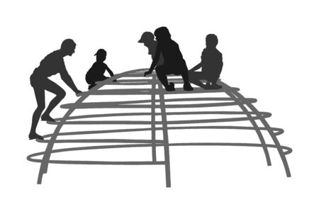 Children Playing at playground climber toy in entertainment park vector silhouette illustration. Outdoor activity, friends play fun. Kids climbers. Boys and girls enjoying after school. Active kids. Фото со стока - 129271272