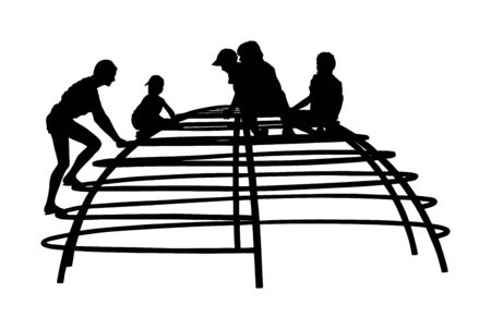 Children playing at playground climber toy in entertainment park vector silhouette. Outdoor activity, friends play fun. Kids climbers. Boys and girls enjoying after school. Active birthday celebration