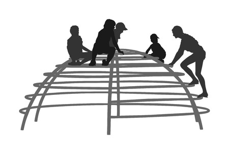 Children Playing at playground climber toy in entertainment park vector silhouette illustration. Outdoor activity, friends play fun. Kids climbers. Boys and girls enjoying after school. Active kids.