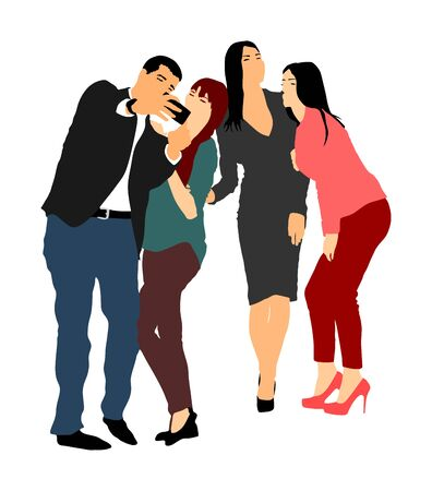 Best friends taking selfie with mobile phone vector illustration. Business people fun. Smiling crew. Handsome ladies and young elegant man entertainment break. Popular super star with fans. colleagues