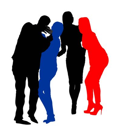 Best friends taking selfie with mobile phone vector silhouette. Business people fun. Smiling crew. Handsome ladies and young elegant man entertainment break. Popular super star with fans. colleagues Çizim