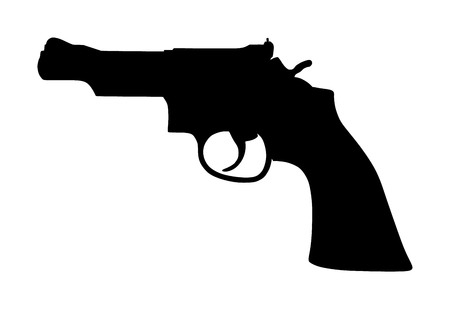 Revolver Pistol Gun Icon Vector Illustration isolated on white background. Risk in conflict situation. police and military weapon. Defense help option against enemy aggressor.