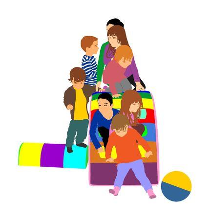 Toddler children slide down vector illustration. Kids get down at toboggan. Indoor playground birthday celebration. Roller coaster. Happy kids playing on slide, boys and girls together. Nursery school Фото со стока - 129271294