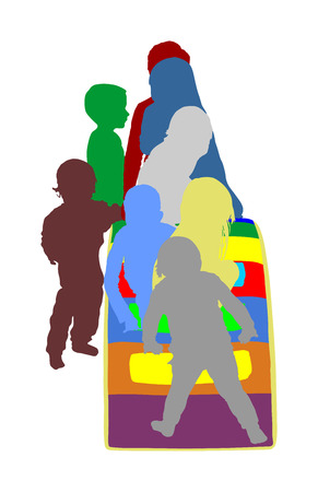 Toddler children slide down vector silhouette. Kids get down at toboggan. Indoor playground birthday celebration. Roller coaster. Happy kids playing on slide, boys and girls together. Nursery school