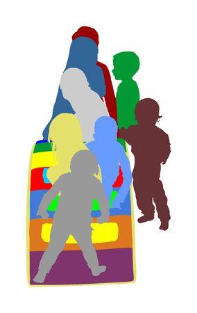 Toddler children slide down vector silhouette. Kids get down at toboggan. Indoor playground birthday celebration. Roller coaster. Happy kids playing on slide, boys and girls together. Nursery school