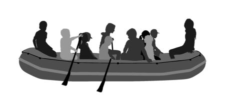 Happy kids rafting with rubber boat vector silhouette. Children, girls and boys enjoying rowing on river on inflatable boat. Summer time activity on beach. Stockfoto - 129271301