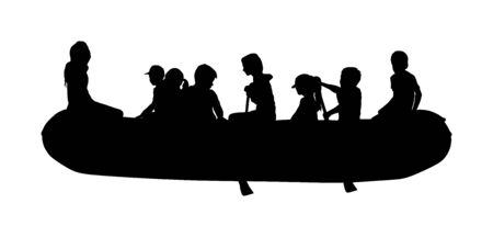 Happy kids rafting with rubber boat vector silhouette. Children, girls and boys enjoying rowing on river on inflatable boat. Summer time activity on beach. Stockfoto - 129271306