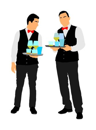 Professional waiters crew holding tray with order drinks for guests vector. Servant in restaurant taking orders.  イラスト・ベクター素材
