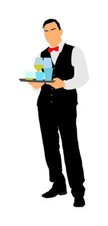 Professional waiter holding tray with order drinks for guests vector. Servant in restaurant taking orders.