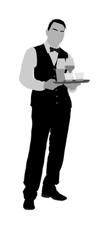 Professional waiter holding tray with order drinks for guests vector. Servant in restaurant taking orders. Worker in pub serve food and drinks for clients. Barman welcomes guests. Servant in hotel.