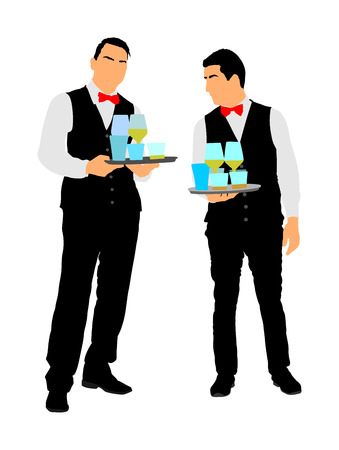 Professional waiters crew holding tray with order drinks for guests vector. Servant in restaurant taking orders. Worker in pub serve food and drinks for clients. Barman welcomes guests. Servant in hotel. Ilustração