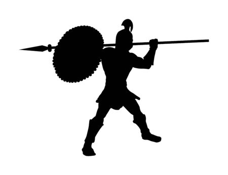 Roman legionary soldier in battle with shield and spear vector silhouette. Strong Spartan warrior. Muscular Rome gladiator in Colosseum. Old Greek warrior.  Achilles in battle for glory and Troy. Illustration