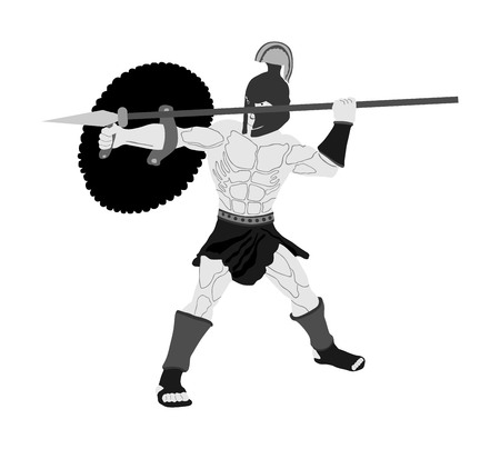 Roman legionary soldier in battle with shield and spear vector illustration. Strong Spartan warrior. Muscular Rome gladiator in Colosseum. Old Greek warrior.