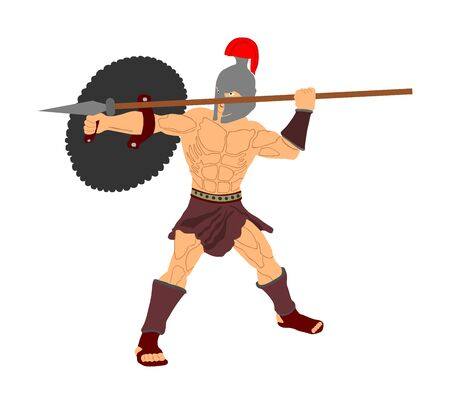 Roman legionary soldier in battle with shield and spear vector illustration. Strong Spartan warrior. Muscular Rome gladiator in Colosseum. Old Greek warrior.  Achilles in battle for glory and Troy.