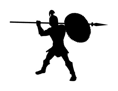 Roman legionary soldier in battle with shield and spear vector silhouette. Strong Spartan warrior. Muscular Rome gladiator in Colosseum. Old Greek warrior.