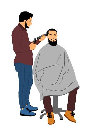 Male hairdresser holding scissors and comb vector illustration. Man client in barbers chair getting haircut by hair stylist in salon. Hairstylist serving customer at barber shop. Long beard mustache.  イラスト・ベクター素材