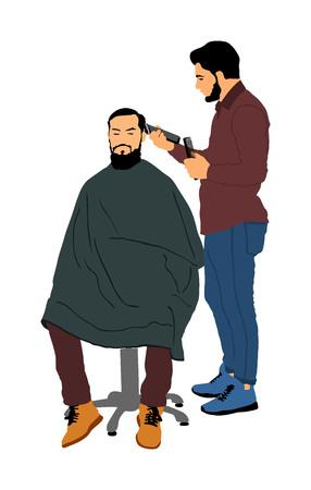 Parrucchiere maschio che tiene forbici e pettine illustrazione vettoriale. Cliente dell'uomo sulla sedia del barbiere che ottiene taglio di capelli dal parrucchiere in salone. Hairstylist che serve il cliente al negozio di barbiere. Baffi barba lunga. Vettoriali