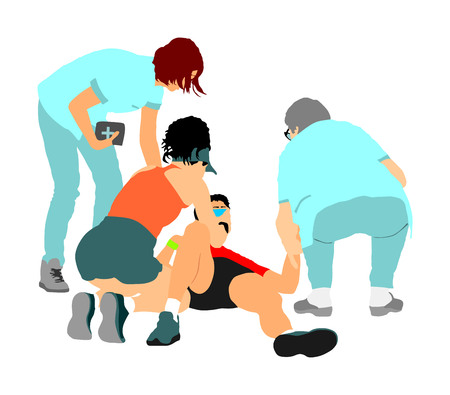Doctor rescue first aid vector illustration. Patient man collapsed in unconscious on street. Sneak attack victim rescue. CPR rescue team, doctor and paramedic resuscitating. Victim of fire. Drowning. Illustration