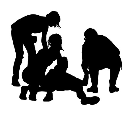 Arztrettung Erste-Hilfe-Vektor-Silhouette. Ein geduldiger Mann ist auf der Straße bewusstlos zusammengebrochen. Rettung des Opfers des Schleichangriffs. CPR-Rettungsteam, Arzt und Sanitäter reanimieren. Opfer von Feuer. Ertrinken.