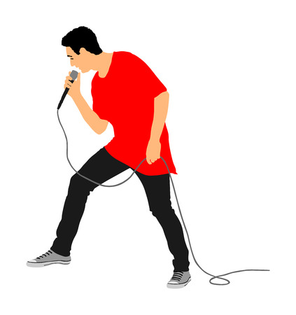Popular singer super star vector illustration isolated on white background. Attractive music artist on the stage. Singer man artist against public on concert. Entertainment event. Microphone in hands.