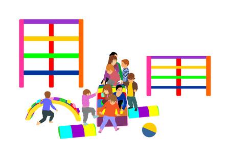 Toddler children slide down vector illustration. Kids get down at toboggan. Indoor playground birthday celebration. Roller coaster. Happy kids playing on slide, boys and girls together. Nursery school