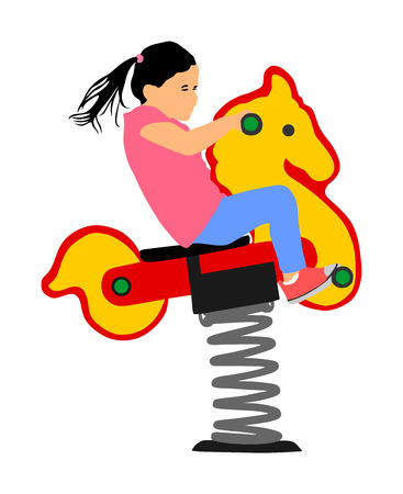 Kids riding toy horse rocking. Girl riding a spring horse ride in park playground vector illustration isolated. Toddler on spring see saw. Baby on wooden pony. Happy smiling girl swinging seesaw.