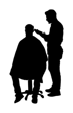Male hairdresser holding scissors and comb vector silhouette. Man client in barber's chair getting haircut by hair stylist in salon. Hairstylist serving customer at barber shop. Long beard mustache.