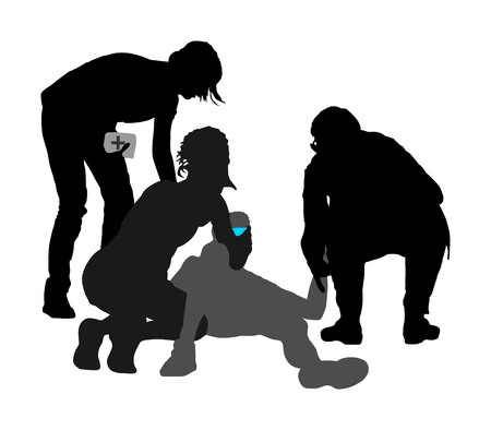 Doctor rescue first aid vector silhouette illustration. Patient man collapsed in unconscious on street. Sneak attack victim rescue. CPR rescue team, doctor and paramedic resuscitating. Fire victim.