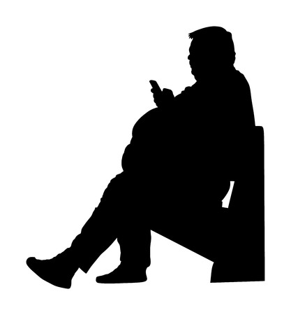 Fat man is worry about health, vector silhouette isolated on white. Overweight person trouble. Big boy think about food calorie. Fat boy sitting on bench in park and ordering fast food by mobile phone Imagens - 102953684