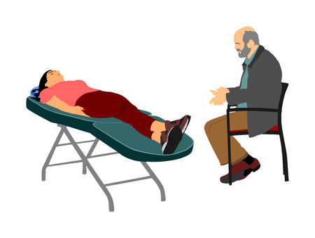 Psychotherapy session in therapist office with patient on sofa talking about his feelings vector illustration. Psychologist Consulting and Listening to a patient mental emotional problem. Health care.