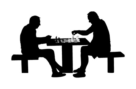 Two seniors man playing chess game outdoor in park vector silhouette. Grandpas friend entertainment. Free time for mature people. Mind recreation board game. Smart move. Retails friendship.