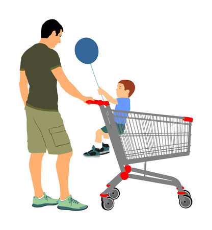 Father with little boy in shopping cart. Man doing everyday grocery buying at supermarket after work, vector isolated.  Fathers day, family buy food and another goods. Metal market trolley.