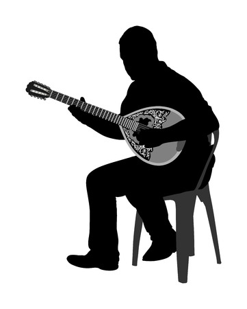 Bouzouki player vector silhouette illustration. Street performer. Greek traditional string instrument. Folklore performer on the street. Greece folk event. Baglama, zurna, turkish performer. Standard-Bild - 105690691