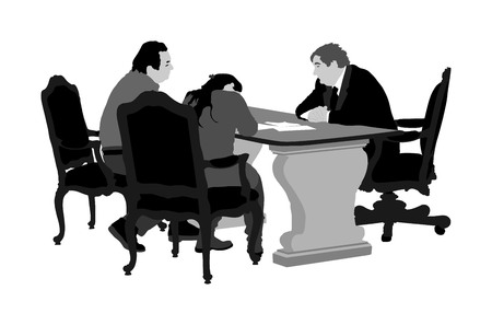 Married senior couple signs the contract with bank manager, vector illustration. Signing real estate contract. Financial contract for loan credit. Signature for new home buying. Business partnership.